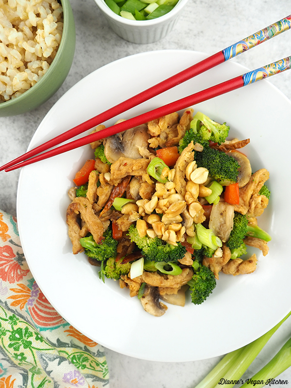 one bowl of Vegan Kung Pao Soy Curls