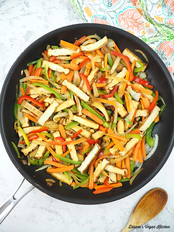 pan of vegetables and tofu