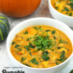 close up of Pumpkin Curry with text overlay
