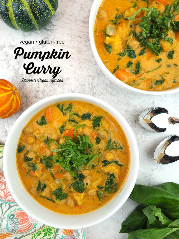 Two bowls of Pumpkin Curry overhead with text overlay