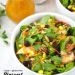close up of Harvest Salad with Pumpkin Vinaigrette with text overlay