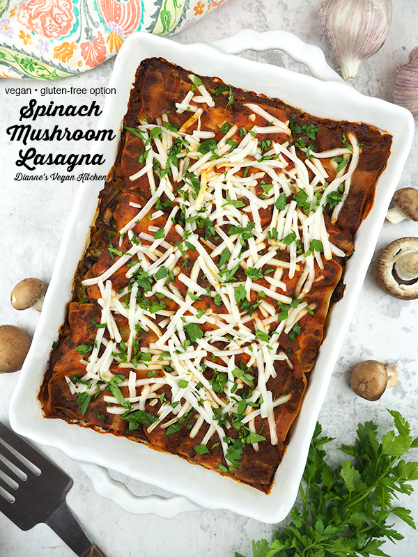 Spinach Mushroom Lasagna in dish with text overlay