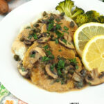 close up of piccata with text overlay
