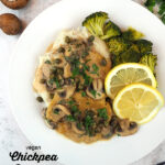 one plate of piccata with text overlay