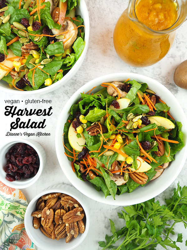 two bowls of Harvest Salad with Pumpkin Vinaigrette with text overlay