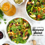 two bowls of Harvest Salad with Pumpkin Vinaigrette overhead with text overlay