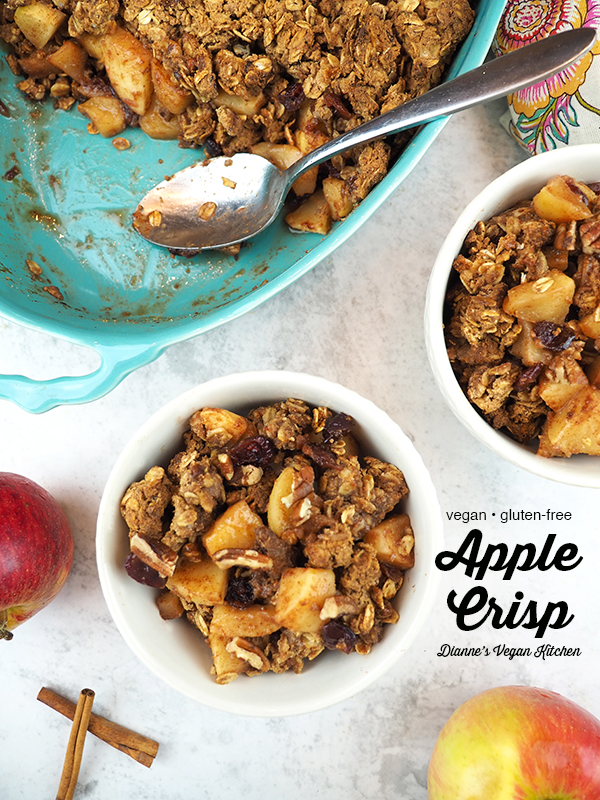 Healthy Vegan Apple Crisp with text overlay