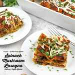 Spinach Mushroom Lasagna two slices with text overlay