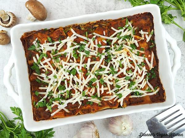 Spinach Mushroom Lasagna horizontal