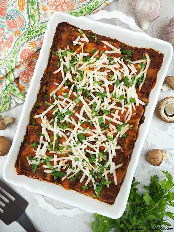 Spinach Mushroom Lasagna in pan