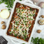 Spinach Mushroom Lasagna in pan square