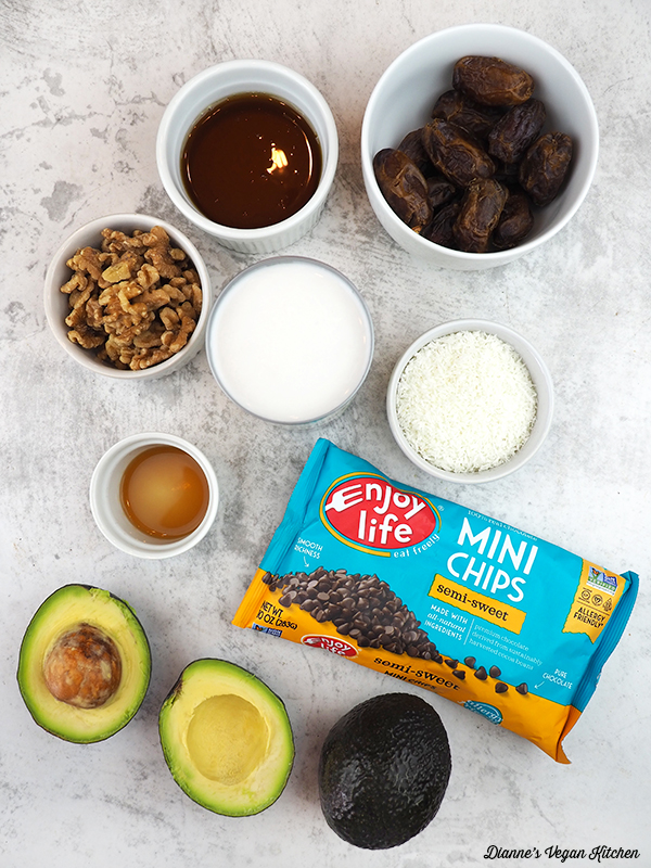 dates, chocolate chips, coconut, maple syrup, avocados, walnuts