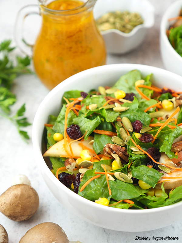 one bowl of Harvest Salad with Pumpkin Vinaigrette