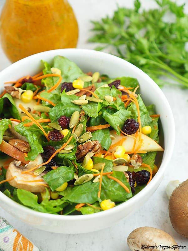 close up of Harvest Salad with Pumpkin Vinaigrette