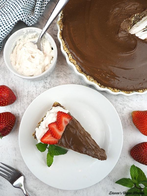 slice of Vegan Chocolate Cream Pie from above