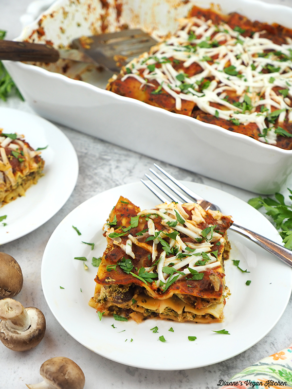 two slices of lasagna and casserole dish