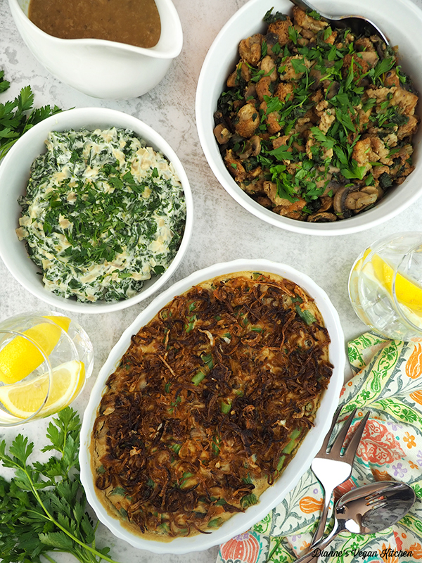 Vegan Thanksgiving recipes: creamed kale, stuffing and green bean casserole
