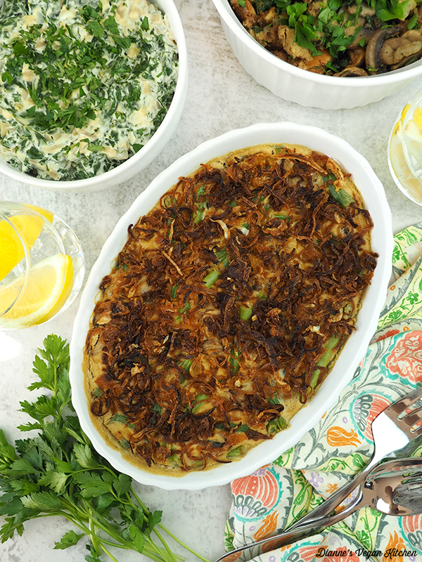 casserole with creamed kale and stuffing