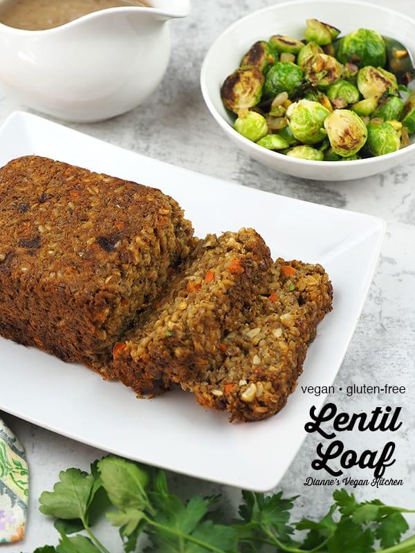 sliced lentil loaf with text overlay