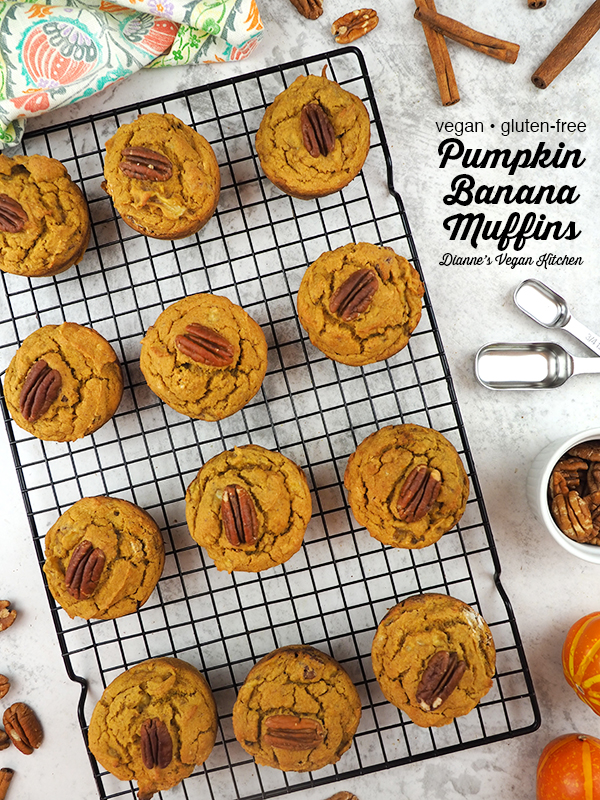 Pumpkin Banana Muffins on cooling rack with text overlay
