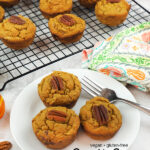 Pumpkin Banana Muffins on plate with text overlay