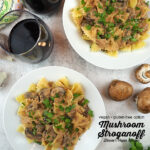 two plates of stroganoff overhead with text overlay