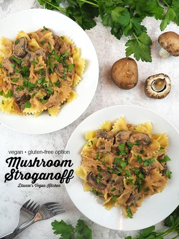 Vegan Mushroom Stroganoff with text overlay