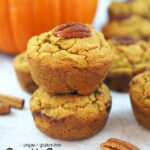 Stack of Pumpkin Banana Muffins with text overlay