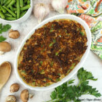 Vegan Green Bean Casserole with garlic, parsley, mushrooms square