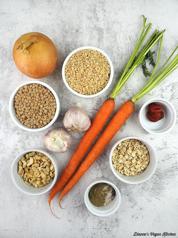 carrots, rice, cashews, lentils, spices, oats