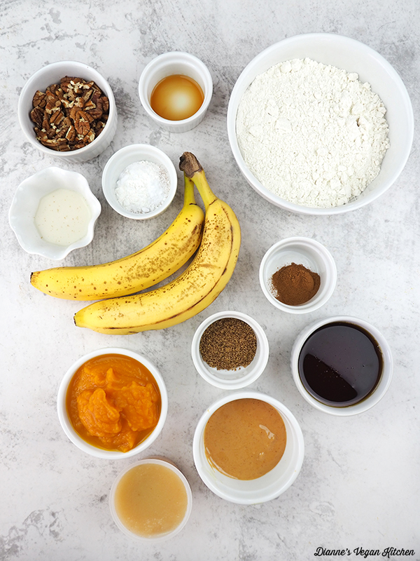 flour, banans, pecans, and other ingredients