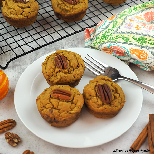 plate with Pumpkin Banana Muffins square