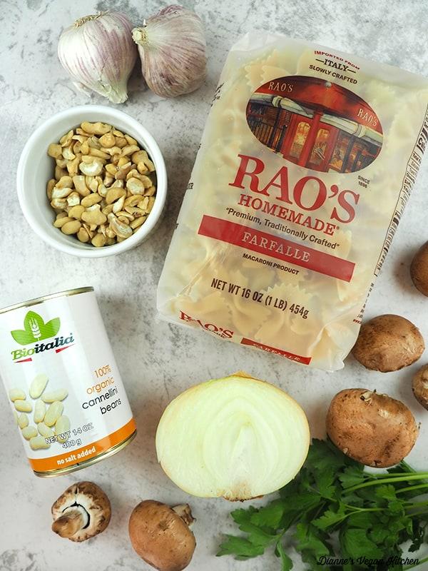 garlic, pasta, mushroom, parsley, onion, beans, and cashews