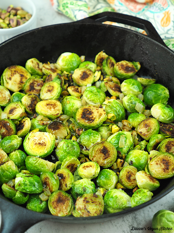 Pan Seared Brussels Sprouts close up