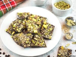 Plate of Vegan Chocolate Bark horizontal