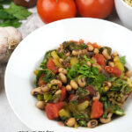 close up of Vegan Hoppin' John with text overlay
