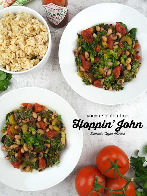 two bowls of Vegan Hoppin' John overhead with text overlay