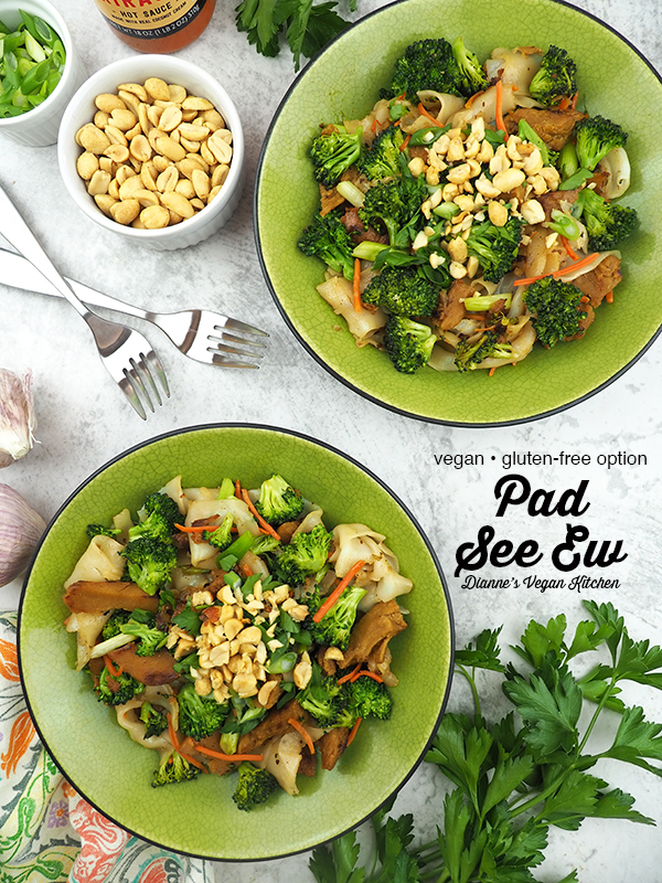 two bowls of Vegan Pad See Ew with text overlay