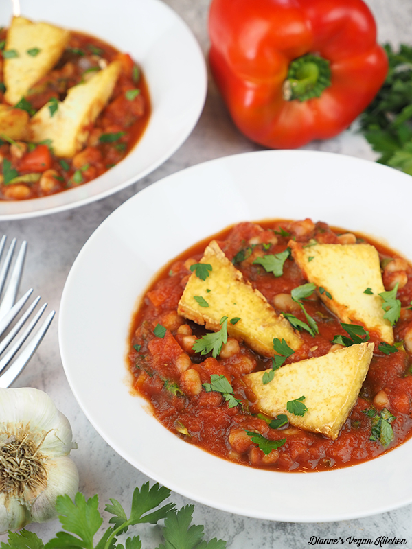 bowls of Vegan Shakshuka with pepper and parsley
