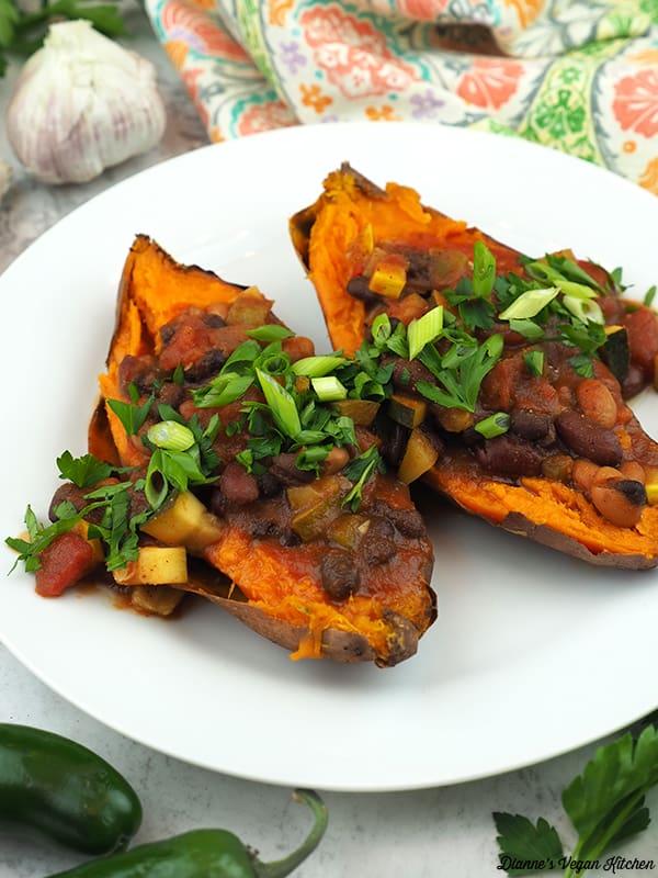chili over sweet potato
