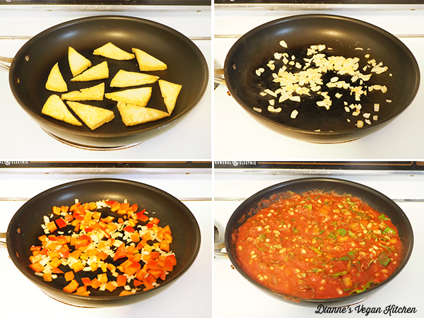 cooking tofu and tomato sauce collage