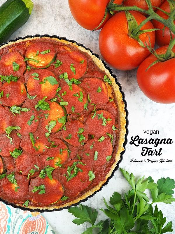 Vegan Lasagna Tart with text overlay