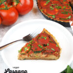 slice of lasagna tart with text overlay