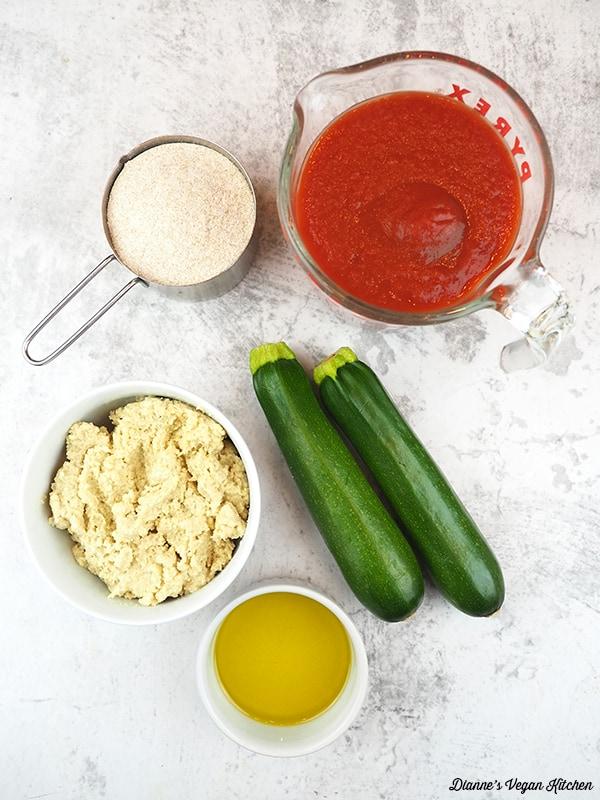 zucchini, tomato sauce, ricotta, and flour