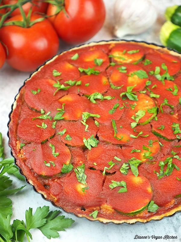 close up of lasagna tart