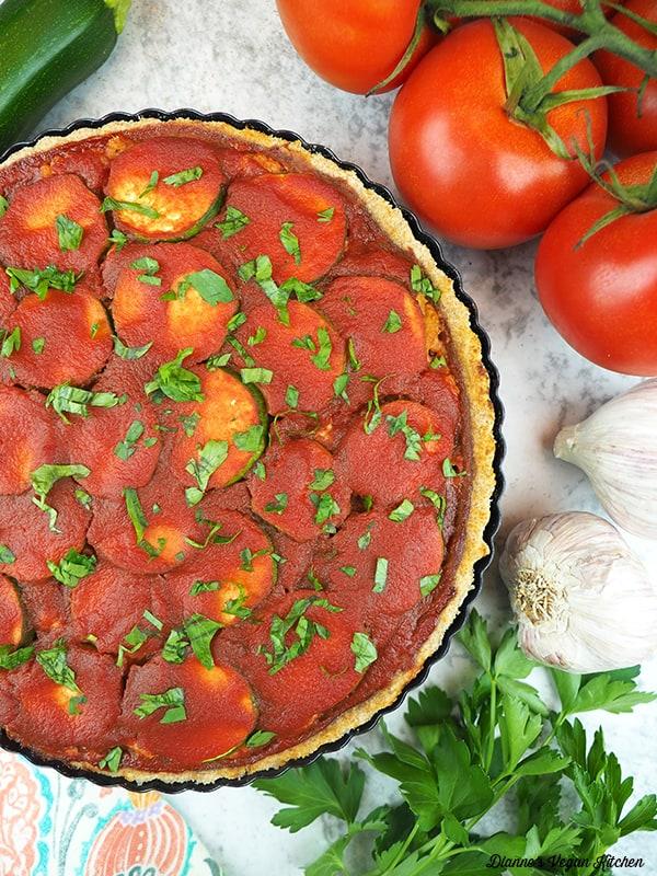 Vegan Lasagna Tart with tomatoes, garlic, parsley, and zucchini
