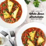 Vegan Shakshuka with text overlay
