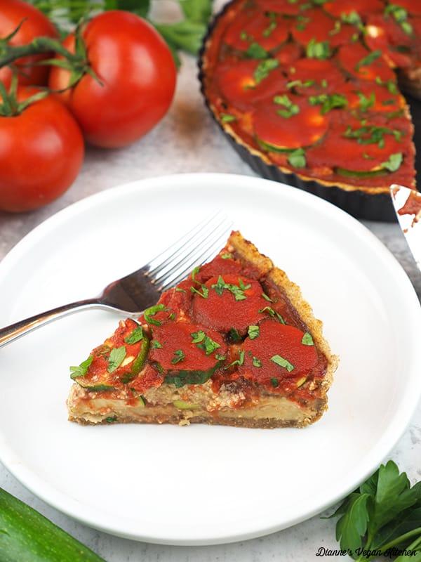slice of lasagna tart