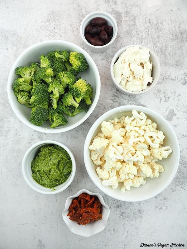 olives, ricolta, cauliflower, sun-dried tomatos, pesto, broccoli