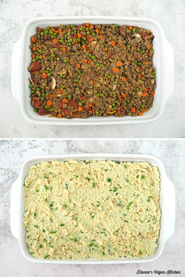 assembling the shepherds pie